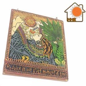 Retro Rejoice Earth Sun Goddess Gratitude Tile VTG